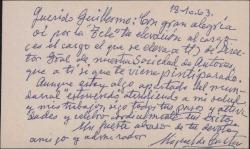 Tarjeta de visita de Miguel de Castro a Guillermo Fernández-Shaw, felicitándole por su nombramiento de Director de la Sociedad General de Autores de España.