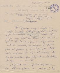 Carta de Antonio Fernández-Cid de Temes a Carlos Manuel Fernández-Shaw, agradeciéndole las gestiones a su favor que está realizando en Washington.