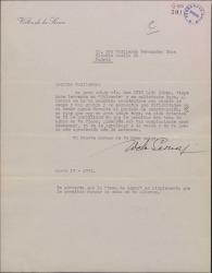 Carta de Víctor de la Serna a Guillermo Fernández-Shaw, pidiéndole un favor para un amigo.
