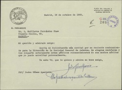 Carta de Pedro Gómez Aparicio a Guillermo Fernández-Shaw, felicitándole por su nombramiento de Director de la Sociedad General de Autores de España.