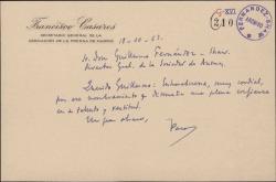 Tarjeta de Francisco Casares a Guillermo Fernández-Shaw, felicitándole por su nombramiento de Director General de la Sociedad General de Autores de España.