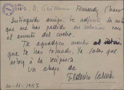 Carta de Federico Galindo a Guillermo Fernández-Shaw, enviándole la nota que éste le habia solicitado.