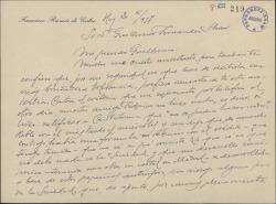 Carta de Francisco Ramos de Castro a Guillermo Fernández-Shaw, pidiéndole ayuda en un asunto referente a la Sociedad General de Autores de España.