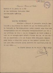 Carta de Francisco Ramos de Castro a Guillermo Fernández-Shaw, dejando en sus manos algunos encargos para la organización de unos festejos.