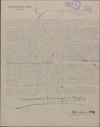 Carta de Valentín Moragas Roger a Guillermo Fernández-Shaw, pidiéndole que gestione en la Junta del Montepío de Autores Españoles la consulta que le expone detalladamente.