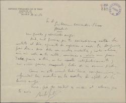 Carta de Antonio Fernández-Cid de Temes a Guillermo Fernández-Shaw, agradeciéndole el interés por su salud.