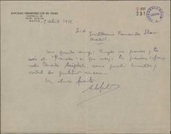 Carta de Antonio Fernández-Cid de Temes a Guillermo Fernández-Shaw, enviándole una publicación suya sobre Enrique Granados.