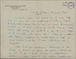 Carta de Antonio Fernández-Cid de Temes a Guillermo Fernández-Shaw, proponiéndole una entrevista de ambos con Federico Moreno Torroba.