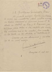 Carta de Fernando Castán Palomar a Guillermo Fernández-Shaw, enviándole unas cuartillas para una emisión en Radio Nacional.