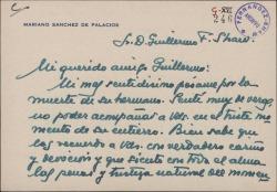 Tarjeta de Mariano Sánchez de Palacios a Guillermo Fernández-Shaw, dándole el pésame por la muerte de su hermano.