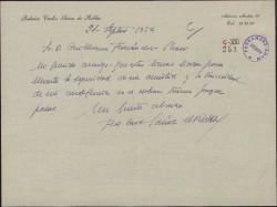 Carta de Federico Carlos Sainz de Robles a Guillermo Fernández-Shaw, dándole un pésame.