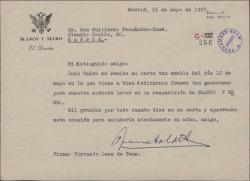 """Carta de Torcuato Luca de Tena a Guillermo Fernández-Shaw agradeciéndole sus frases con motivo de la reaparición de """"Blanco y Negro""""."""