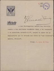 Carta de Torcuato Luca de Tena a Guillermo Fernández-Shaw y Federico Romero, aceptando la dedicatoria de un libro.