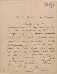 Carta de Víctor Espinós a Cecilia Iturralde, viuda de Carlos Fernández Shaw, asociándose a su alegría por la distinción de que ha sido objeto su hijo Guillermo Fernández-Shaw.