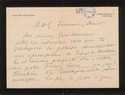 Carta de Víctor Espinós a Guillermo Fernández-Shaw, lamentando no poder enviarle el ejemplar de la obra que le ha solicitado por haberse extraviado.