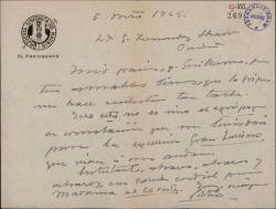 Carta de Víctor Espinós a Guillermo Fernández-Shaw, agradeciéndole su carta.