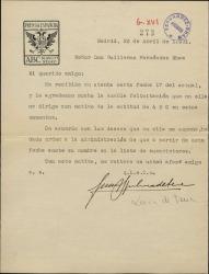 """Carta de Juan Ignacio Luca de Tena a Guillermo Fernández-Shaw, agradeciéndole su felicitación por la actitud de """"ABC"""" y tomando nota de su suscripción al diario."""