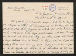 Carta de Eladio Portasany a Guillermo Fernández-Shaw, explicando los motivos por los que no se ha publicado en ABC la nota de sociedad que le interesaba y disculpándose por ello.