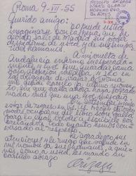 Carta de Rodolfo Arizaga a Guillermo Fernández-Shaw, disculpándose por no haberse podido despedir de él y hablando de un libro sobre Falla.