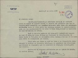 Carta de Rafael Salazar a Guillermo Fernández-Shaw, adjuntando un recorte de periódico y comentando temas de su trabajo.