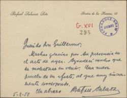 Tarjeta de Rafael Salazar a Guillermo Fernández-Shaw, agradeciéndole su presencia en un acto.