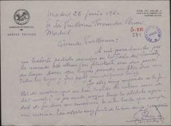 Carta de Francisco Casares a Guillermo Fernández-Shaw, lamentando no haber podido ayudarle en la Fiesta del Sainete.