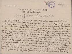 Carta de Luis Araujo Costa a Guillermo Fernández-Shaw, comentándole su providencial salvación de diversos peligros durante la Guerra Civil.