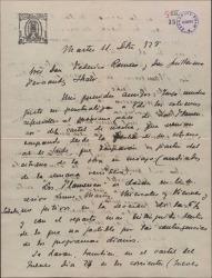 """Carta de Leopoldo Bejarano a Guillermo Fernández-Shaw y Federico Romero, puntualizando algunos detalles de la representación de """"Los flamencos"""" en el Teatro Apolo."""