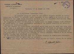 Carta de Teodoro Llorente Fálco a Guillermo Fernández-Shaw, comentando las trágicas consecuencias personales de la Guerra Civil y anunciándole el envío de los libros que le pide.