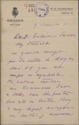 Carta de Alfredo Escobar, Marqués de Valdeiglesias, a Guillermo Fernández-Shaw brindándole su ayuda tras la muerte de su padre Carlos Fernández Shaw.