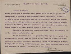 Carta del Marqués de Valdeiglesias, a Guillermo Fernández-Shaw sobre una conferencia que ha pronunciado y sobre ciertas ideas acerca de la música española.
