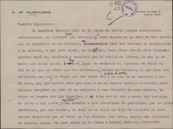 """Carta del Marqués de Valdeiglesias, a Guillermo Fernández-Shaw pidiéndole le busque un colaborador para escribir sus artículos. Hay un comentario sobre las """"crónicas de sociedad"""" de León Boyd."""