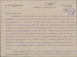 Carta del Marqués de Valdeiglesias a Guillermo Fernández-Shaw, agradeciendo y aceptando su ofrecimiento de ser él el colaborador que aquél busca para trabajar en sus trabajos periodísticos.