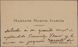 Tarjeta de visita de Mariano Marfil a Guillermo Fernández-Shaw, saludándole y enviándole unos cigarros.