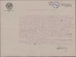 """Carta de Francisco Casares a Guillermo Fernández-Shaw, pidiendo información sobre """"Doña Francisquita"""" para un artículo periodístico con motivo de cumplirse veinte años del estreno de la obra."""