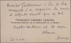 Tarjeta de visita de Francisco Casares a Guillermo Fernández-Shaw, acompañando a un recorte de prensa.