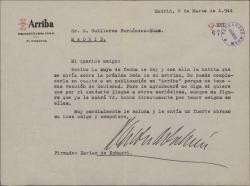 """Carta de Xavier de Echarri a Guillermo Fernández-Shaw, lamentando no poder publicar una nota de sociedad en """"Arriba"""" por no tener este periódico sección de sociedad."""