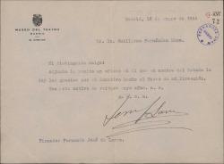 Carta de Fernando José de Larra a Guillermo Fernández-Shaw, remitiendo un oficio en el que En nombre del Estado le agradece su donativo al Museo del Teatro.