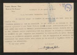 """Carta de Teodoro Llorente Fálco a Guillermo Fernández-Shaw, demorando el inicio de la colaboración de éste en el periódico """"Las Provincias"""" por la escasez de papel."""