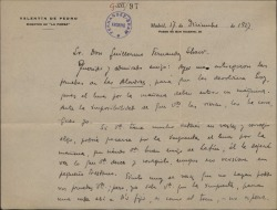 """Carta de Valentín de Pedro a Guillermo Fernández-Shaw, diciéndole que ha corregido las pruebas de """"Las alondras"""" para su publicación."""