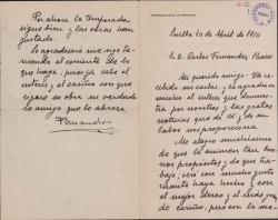 Cartas de Fernando Díaz de Mendoza a Carlos Fernández Shaw y Cecilia Iturralde, su esposa.