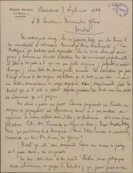 Carta de Miquel Saperas a Guillermo Fernández-Shaw, agradeciendo el envío de unos libros dedicados y comentando el estado de varios proyectos literarios en los que está trabajando.