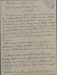Carta de Miquel Saperas a Guillermo Fernández-Shaw, con noticias de su actividad literaria.