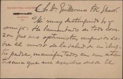 Tarjeta de Nicasio Hernández Luquero a Guillermo Fernández-Shaw, dándole el pésame por la muerte de su padre, Carlos Fernández Shaw.