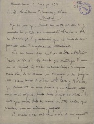 """Carta de Miquel Saperas a Guillermo Fernández-Shaw, celebrando que éste se decida a traducir su obra """"Carles de Viana""""."""
