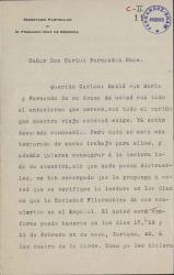 Cartas de Luis Ruiz de Velasco, secretario particular de Fernando Díaz de Mendoza, a Carlos Fernández Shaw.
