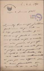 Carta de Carlos Herrera a Guillermo Fernández-Shaw interesándose por la salud de su padre, Carlos Fernández Shaw.
