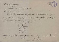 Carta de Miquel Saperas a Guillermo Fernández-Shaw, sobre una traducción que éste hace de una obra de áquel.