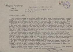 Carta de Miquel Saperas a Guillermo Fernández-Shaw, pidiéndole noticias suyas y dándole noticias personales.