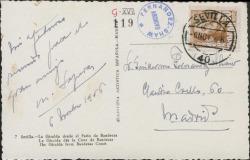 Tarjeta postal de Miquel Saperas a Guillermo Fernández-Shaw, saludándole desde Sevilla.
